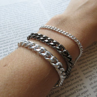 Delicate trio - Silver and Gunmetal Chain Stacking and Layering Bracelets