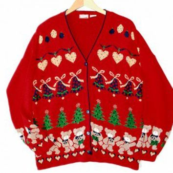 Vintage 80s Oversized Sparkle Teddy Bear Hearts Tacky Acrylic Ugly Christmas Sweater Large/XL (L/XL) $35 - The Ugly Sweater Shop