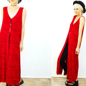 VTG 90s Red Slinky Sleeves Maxi Duster Vest / Long / One size fits most / Vest Dress /
