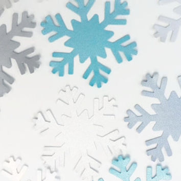 40 Large Shimmery Snowflakes, Paper Snowflakes, Frozen Birthday, Winter Onederland, Frozen Party. Aqua Snowflake