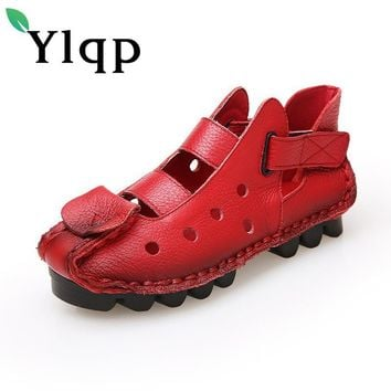 Ylqp Women Genuine Leather Sandals Summer Cowhide Shoes Ladies Chaussure Femme Vintage