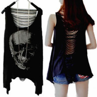 Vintage Women SKULL PUNK SEXY Tassel Open Back Lady Singlet Tank Top Long TShirt