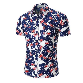 2018 New Mens Summer Holiday Beachwear Hipster Short Sleeve Slim Fit Australia Flag Printed Casual Button Down Hawaiian Shirts