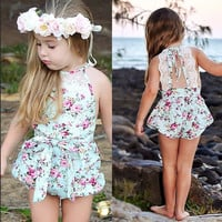 Rose Floral Printed Cotton Baby Rompers Vintage Baby Girl Romper Lace Floral  Overalls for Children Baby Clothes 1-3years