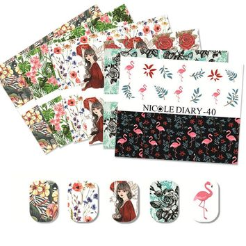 NICOLE DIARY 1Sheet Nail Art Water Beautiful Flowers Series Design Stickers Sheet on Finger Water Transfer Nail Art Decals