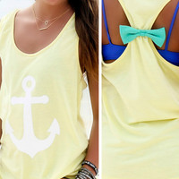 Anchors Away Yellow Anchor Mint Bow Back Tank Top