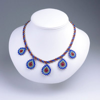 Asymmetric Teardrop Pendant  and Striped Necklace, Blue & Red, 377-2ne-blured
