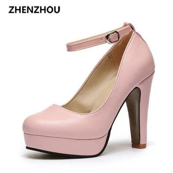 Women's Leather Closed Toe Ankle Strap High Heel Pumps