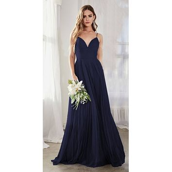 Long A-Line Tulle Dress Navy Blue Gathered Sweetheart Neckline Pleated Finish
