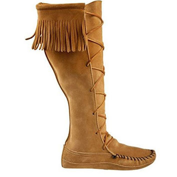 Minnetonka Knee Hi - Tan Fringe Knee-High boot