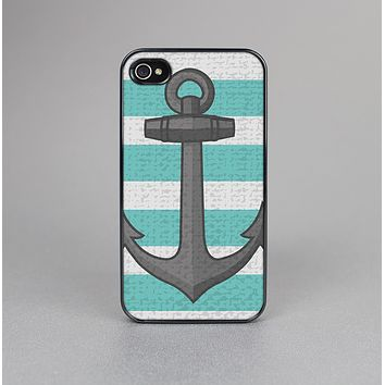 The Trendy Grunge Green Striped With Anchor Skin-Sert for the Apple iPhone 4-4s Skin-Sert Case