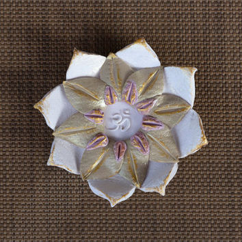 Lotus Flower Zen Ring Dish, Ohm Symbol , Polymer Clay Flower Trinket Dish, White Green Purple Gold Color Accents