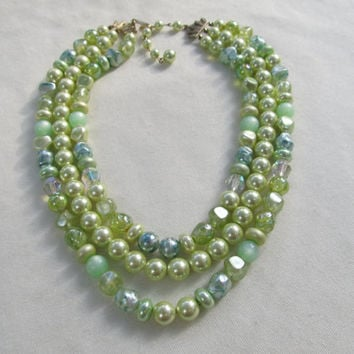 1950s-60s Green Triple Strand Bead Necklace