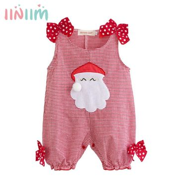 Cute Kids Infant Newborn Baby Summer Christmas Party Costumes Santa Claus Plaid Romper Clothes Toddler Boys Girls New Year Gift