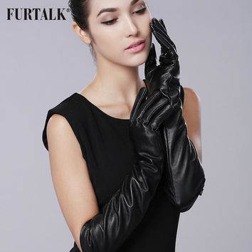 FURTALK Texting Driving Winter Warm Nappa Leather Gloves Long Black Glove