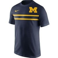 Michigan Wolverines Men's Shirt Nike Team Stripe T-Shirt Navy