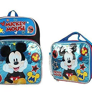 "Disney Mickey Mouse Boys & Girls 12"" Canvas Blue School Backpack + Lunch Bag"
