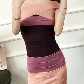 Women's Sleeveless Colorblock Bodycon Bandage Dress