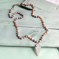 Frosted Coffee Agate Long Beaded Necklace with Agate Arrow Pendant 232d
