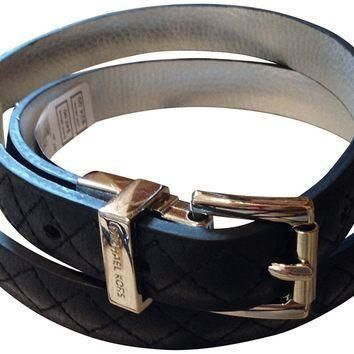 Michael Kors Women's Reversible Quilted Genuine Leather Belt Large