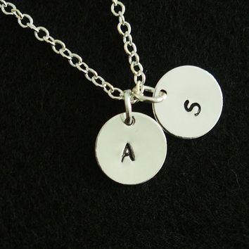 Initial Necklace Sterling silver Disc Necklace Personalized Jewelry 10mm Initial Charm Necklace Sterling silver Celebrity Inspired Jewelry