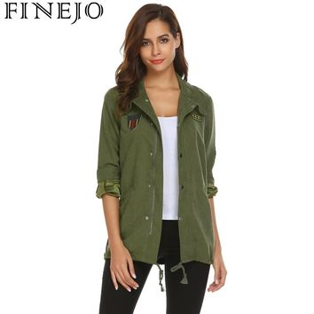 Trendy Winter Jacket FINEJO womens Autumn  2018 Spring Hooded Drawstring Coat Long Sleeve Casaco Feminino Solid applique military  women AT_92_12
