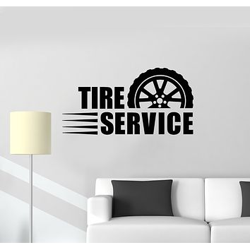 Vinyl Wall Decal Lettering Tire Service Garage Decor Wheel Repair Car Stickers Mural (g1662)
