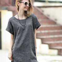 2016 New Fashion Trend Summer Women Linen Dresses O-Neck European and American Style Short Sleeve