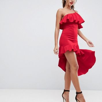 ASOS High Low Ruffle Bodycon Mini Dress at asos.com