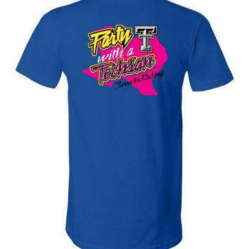 Official NCAA Texas Tech University Red Raiders TTU Masked Raider WRECK EM! Party With a Techsan Sorry for Rocking Unisex V-Neck T-Shirt - TEXT1040-c