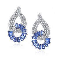 Circling Blue Baguette Cubic Zirconia Earrings