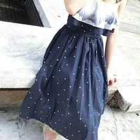 Navy Spaghetti Strap Polka Dot Ruffled Layered High Waist Pleated Midi Dress