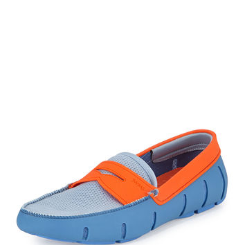 Mesh and Rubber Penny Loafer, Light Blue/Orange - Swims