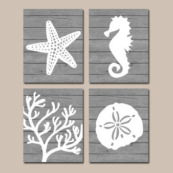 Beach Bathroom Wall Art Canvas Or Prints Nautical Coastal Bathroom Decor Aqua Starfish