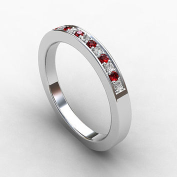 Ruby ring, diamond, Palladium, half eternity, ruby wedding ring, micro pave, thin wedding band, ruby engagement, engagement, unique