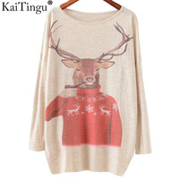 Winter Fashion Women Long Batwing Sleeve Knitted Christmas Deer Print Sweater