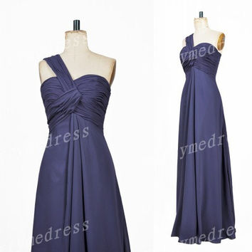 2014 Ruffled Cross Strapless One-Shoulder A-line Longt Bridesmaid Dress,Chiffon Evening Party Prom Dress New Homecoming Dress