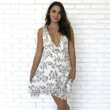 Floral Wrap Dress in Ivory