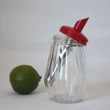 Glass Sugar holder with red metal spout / STO / powder sugar / French vintage