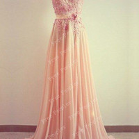 Cheap A-line Round Neckline Sweep Train Lace Prom Dress, Formal Dresses, light coral long prom dresses, Evening Dresses