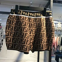 FENDI Newest Hot Sale Women Double F Letter Jacquard Casual Shorts Coffee