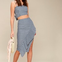 Down By The Bay Blue and White Striped Two-Piece Dress