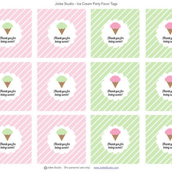 Ice Cream Birthday Party Printable Favor Tags: INSTANT DOWNLOAD