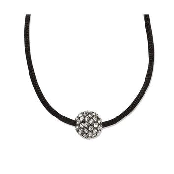Black-plated Clear Crystal Fireball on 16 w/ext Satin Cord Necklace