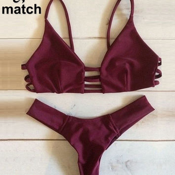 Beach Style Sexy Bra Set 2016 Three Bandage Wine Color Halter Bra and Brief Two Piece Set underwear SW03273C