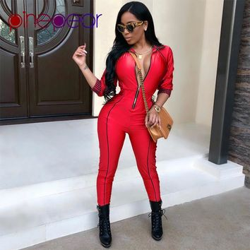 PinePear Long Bodycon Winter Womens Jumpsuits Rompers Sexy Skinny Red/Gold Long Sleeve Zipper Jumpsuit for Women 2019 NEW