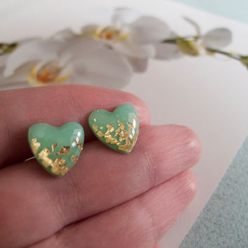 Mint Green Gold Heart Stud Earrings - Polymer Clay and Resin Jewelry