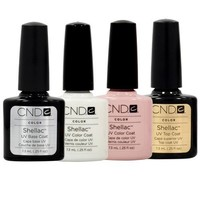 CND Shellac French Manicure Kit Top Base Coat Color Nail Polish Gel White Pink