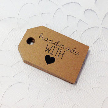 25 Kraft HANDMADE With Love Tags -  Hang Tags, Gift Tags, Labels, Die Cuts -  2.0 X 1.25 inch - Handmade Packaging