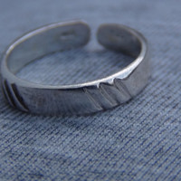 Sterling Silver Toe Ring Stamped 925 Band Line Design